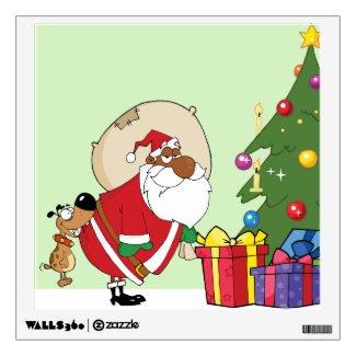 Bad Dog Bites Black Santa on the Butt Wall Skins