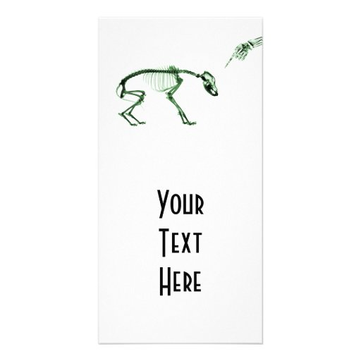 Bad Dog X-ray Skeleton in Green Picture Card