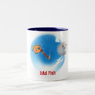 bAd Fish with Puffer Two-Tone Coffee Mug