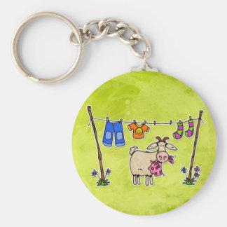 bad goat basic round button keychain