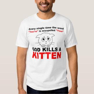 Bad Grammar Kills Kittens Tee Shirt