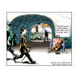 """Bad Guitarist"" Funny Cartoon Gifts & Collectibles Postcard"