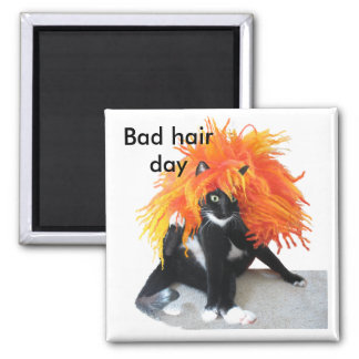 Bad hair day 2 inch square magnet