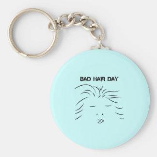 Bad Hair Day Basic Round Button Keychain