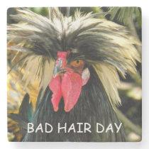 Bad Hair Day Chicken Photo Stone Coaster