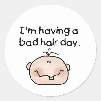 Bad Hair Day Classic Round Sticker