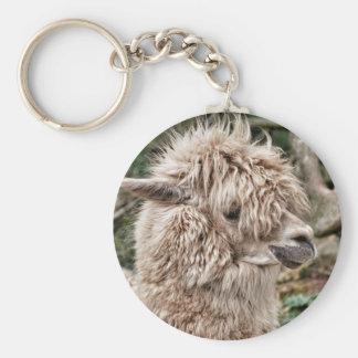 Bad Hair Day Lama Basic Round Button Keychain
