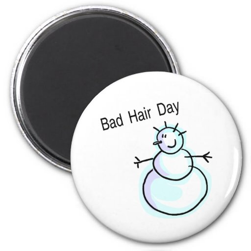 Bad Hair Day Snowman Refrigerator Magnets