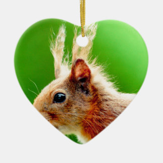 Bad hair day squirrel Double-Sided heart ceramic christmas ornament