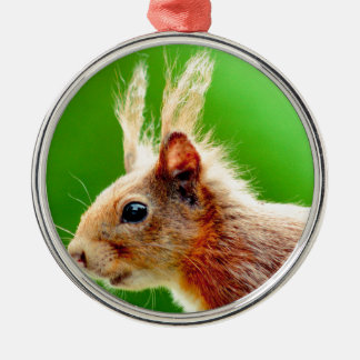 Bad hair day squirrel round metal christmas ornament