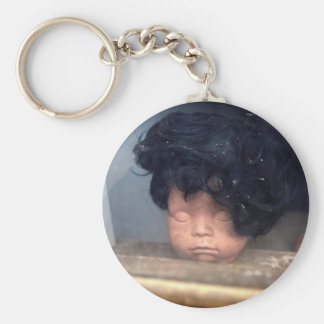 Bad Hair Day Vintage Doll In Window With Hair Basic Round Button Keychain