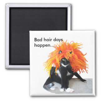 Bad hair days 2 inch square magnet