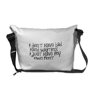 Bad hand writing courier bag