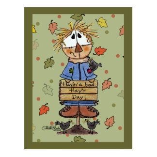 Bad Hay'r Day Scarecrow Postcard