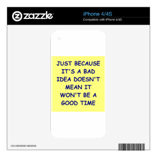 bad idea decal for the iPhone 4