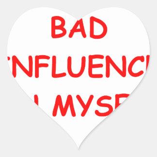 bad influence heart sticker