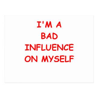bad influence postcard