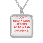 bad influence square pendant necklace