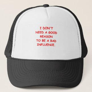 bad influence trucker hat
