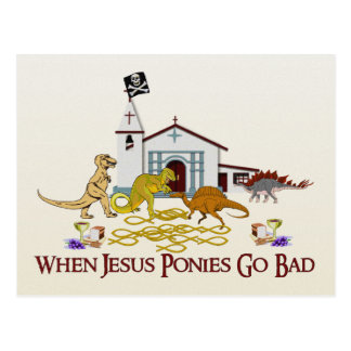Bad Jesus Ponies Postcard