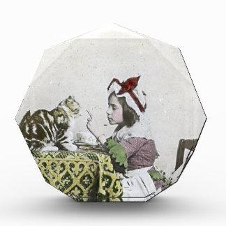 Bad Kitty Victorian Tea Party Vintage Little Girl Acrylic Award