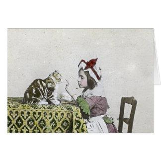 Bad Kitty Victorian Tea Party Vintage Little Girl Card