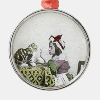 Bad Kitty Victorian Tea Party Vintage Little Girl Metal Ornament