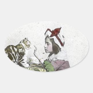 Bad Kitty Victorian Tea Party Vintage Little Girl Oval Sticker