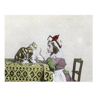 Bad Kitty Victorian Tea Party Vintage Little Girl Postcard