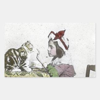 Bad Kitty Victorian Tea Party Vintage Little Girl Rectangular Sticker