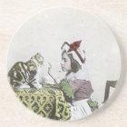 Bad Kitty Victorian Tea Party Vintage Little Girl Sandstone Coaster
