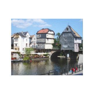 Bad Kreuznach, Germany Bridge Houses Canvas Print