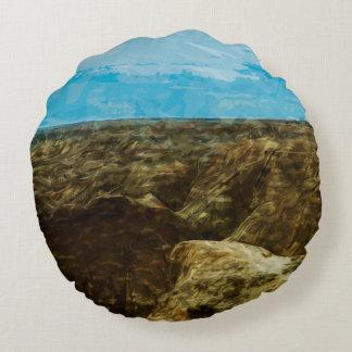 Bad Lands National Park South Dakota Abstract Round Pillow