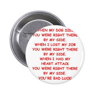 bad luck 2 inch round button
