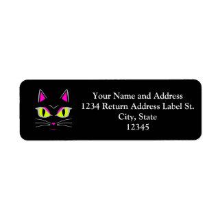 Bad Mad Black Kitty Cat Halloween Label