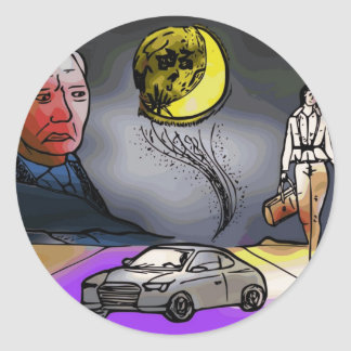 Bad month bad moon classic round sticker