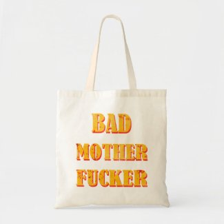 Bad mother fucker blood splattered vintage quote canvas bags