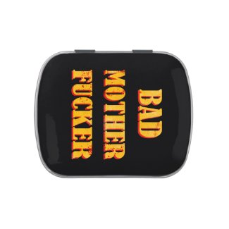 Bad mother fucker blood splattered vintage quote jelly belly tins
