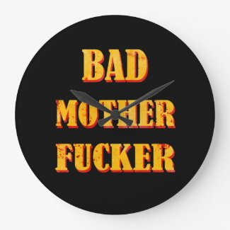 Bad mother fucker blood splattered vintage quote wall clock