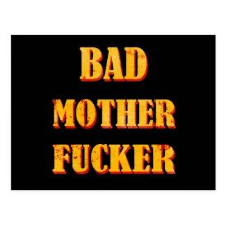 Bad mother fucker blood splattered vintage quote postcard