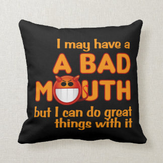 Bad Mouth custom throw pillow