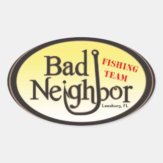 Bad Neighbor Oval Black Yellow Sticker
