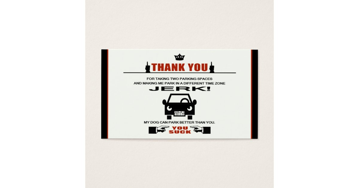 Bad Parking Business Card | Zazzle.com