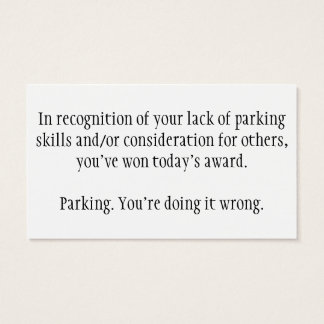 Bad parking cards