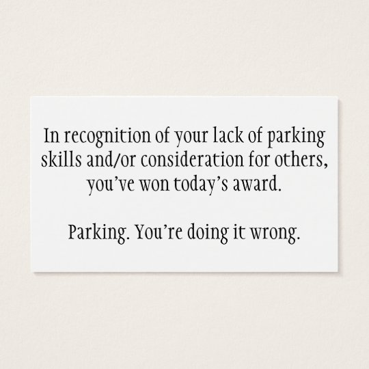 Influential image with regard to bad parking cards printable