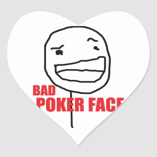 Bad Poker Face Heart Sticker