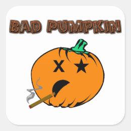 Bad Pumpkin Square Sticker