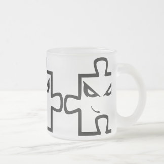 Bad puzzle cup 10 oz frosted glass coffee mug