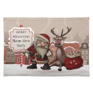 Bad Santa And Grumpy Reindeer, Cloth Placemat