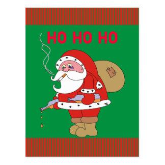 Bad Santa Claus Funny Christmas Postcard